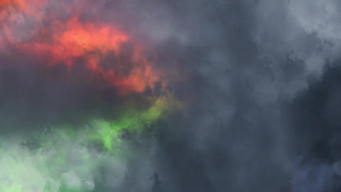 Orange Green Lightnings Behind Clouds Animation Motion Graphic Background Animation