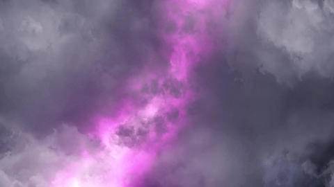 Purple Lightnings Behind Clouds Animation Motion Graphic Background Animation