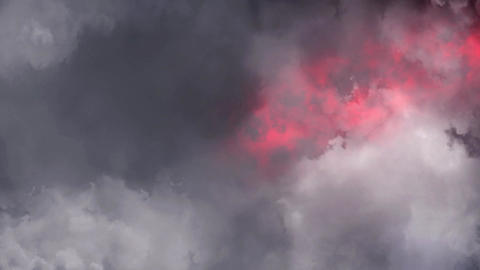 Red Lightnings Behind Clouds Animation Motion Graphic Background Animation