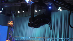 The camera moves in the TV Studio Footage