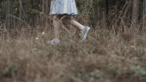 Girl Walking in Forest Footage