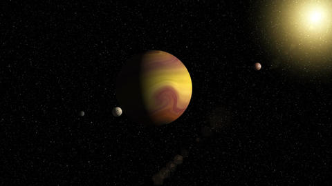Large gas giant planet with two moons and a smaller... Stock Video Footage