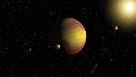 Large gas giant planet with two moons and a smaller planet orbiting nearby star. Filmmaterial