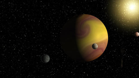 Large gas giant planet with two moons and a smaller planet orbiting nearby star Animation