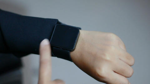 Close up shot hands of woman using smart watch 004 Footage