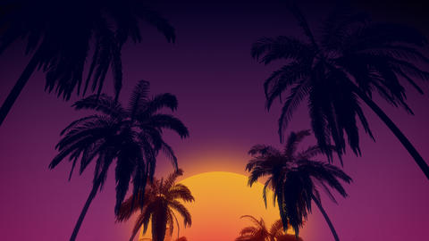80's retro style background with tropical coconut trees and sunset from 3d rende Foto