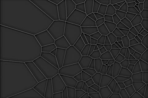 Abstract brushed metal 3d voronoi grate on black background Photo