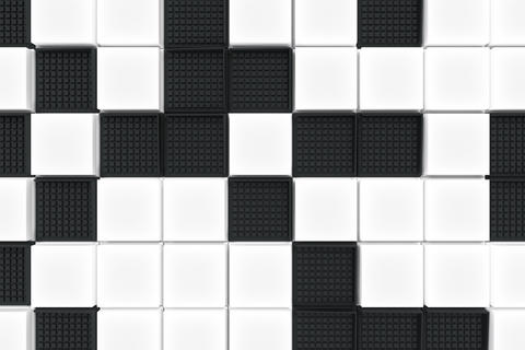 Futuristic industrial background made from black and white squar フォト