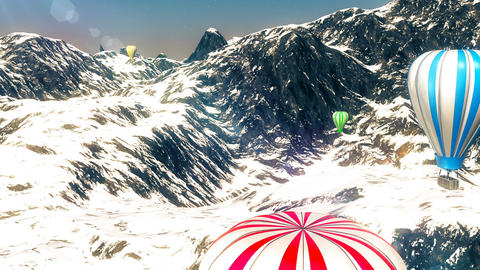 Hot Air Colorful Balloons in Mountains Animation