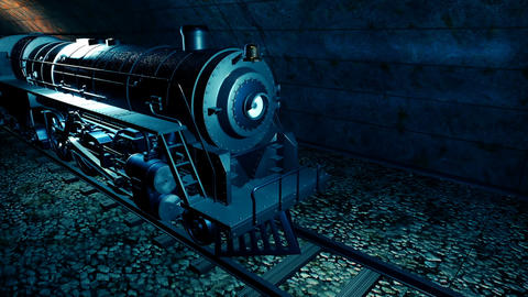 Steam old train in tunnel Animation