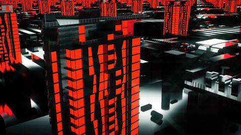 Cybernetic futuristic red City. 3d buildings, skyscrapers in technology style Animation