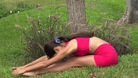 Thin Female Stretching Footage