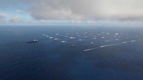 Aerial video of fleet of warships during rim of the pacific exercise Footage