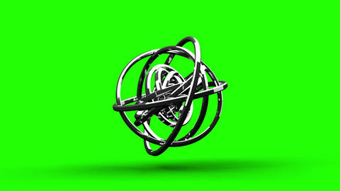 Loop Able Silver Circle Abstract On Green Chroma Key Stock Video Footage
