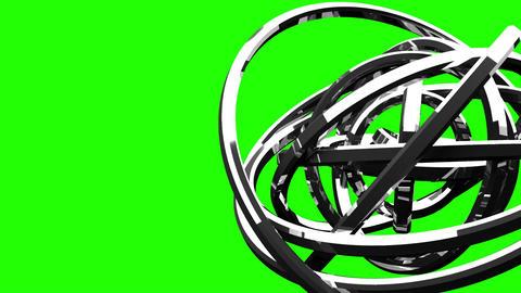 Loop Able Silver Circle Abstract On Green Chroma Key Videos animados