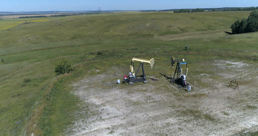 Oil pumps from a bird's-eye view Footage