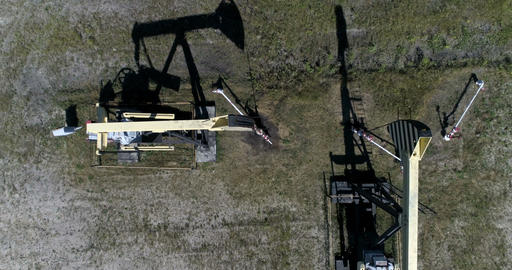Oil pumps. View from above Footage
