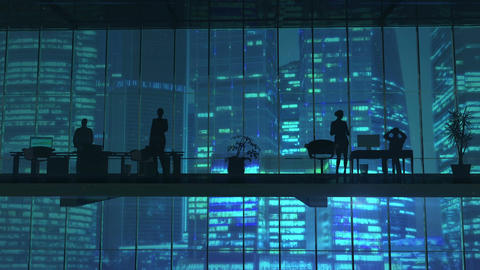 Silhouettes In An Office Building Against Of Skyscrapers Animation