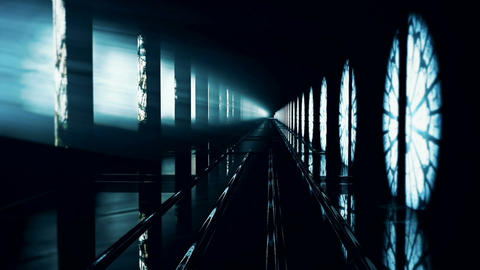 Night Mystical Corridor. Loopable Animation