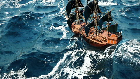 Old pirate ship in the ocean. Seamlessly Loopable Animation