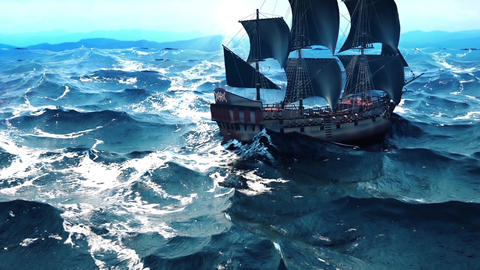 Old pirate ship in the ocean. Seamlessly Loopable 画像