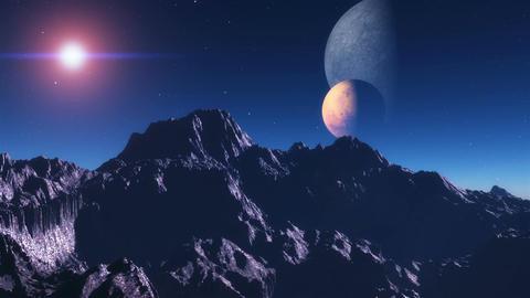 Alien planet sunset. A sunset in an alien planet Stock Video Footage