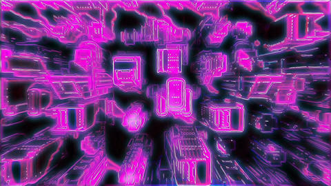 Cybernetic neon city with Futuristic Buildings. Loopable Animación