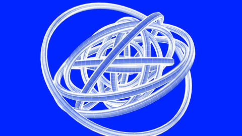 Loopable White Wire Frame Circle Abstract On Blue Background Animation
