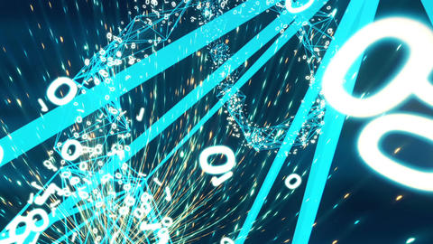 Flight through the abstract network. Looped Animation