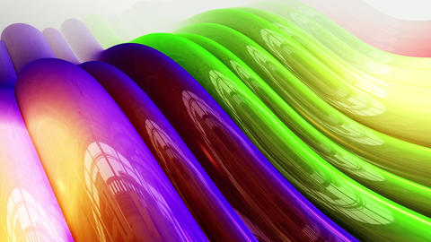 Abstract flowing colorful waves. Loopable Animation