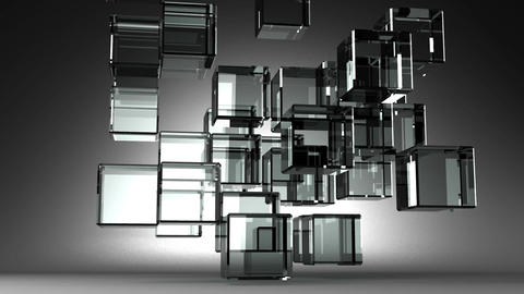 Loop Able Glass Cubes Abstract On Black Background Stock Video Footage