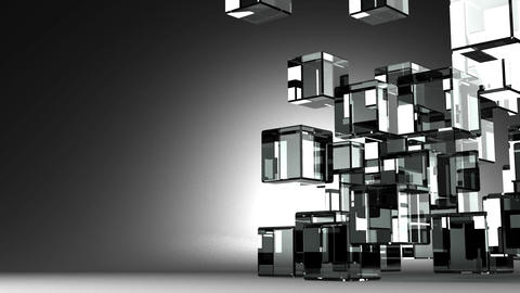 Loop Able Glass Cubes Abstract On Black Text Space Stock Video Footage