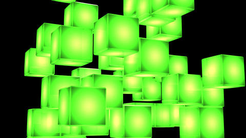 Green Shining Cube Abstract On Black Background CG動画