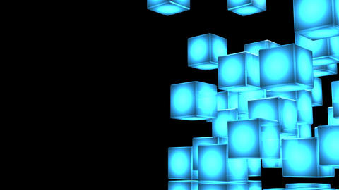 Loop Able Blue Shining Cube Abstract On Black Text Space CG動画