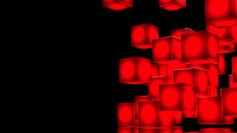 Loop Able Red Shining Cube Abstract On Black Text Space CG動画