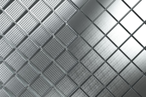 Futuristic industrial background made from brushed square metal Photo