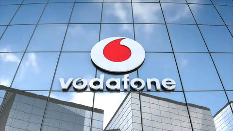 Editorial Vodafone logo on glass building Animation