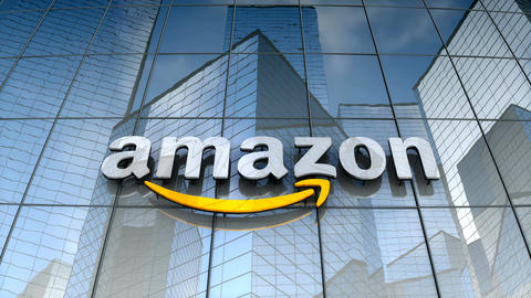 Editorial, Amazon logo on glass building Animation