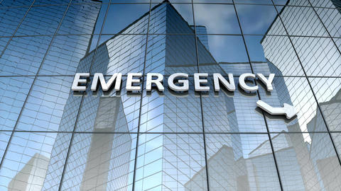 Emergency signage on glass building Animation