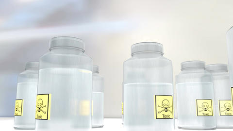 Hazardous toxic chemical container Animation