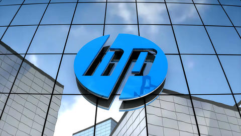 Editorial, HP logo on glass building Animation