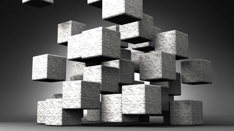 Loop Able Stone Cube Abstract On Black Background Stock Video Footage