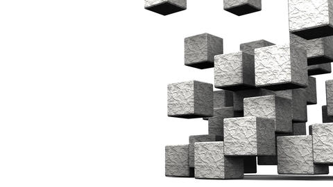 Loop Able Stone Cube Abstract On White Text Space Stock Video Footage