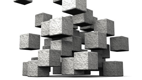 Loop Able Stone Cube Abstract On White Background Stock Video Footage