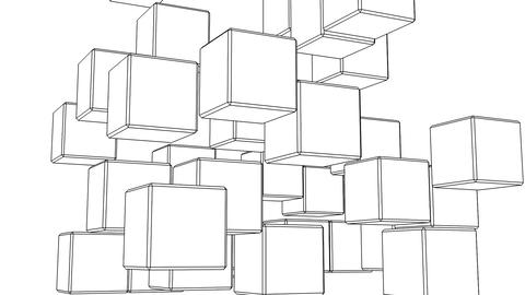 Black Wire Frame Cube Abstract On White Background Animation