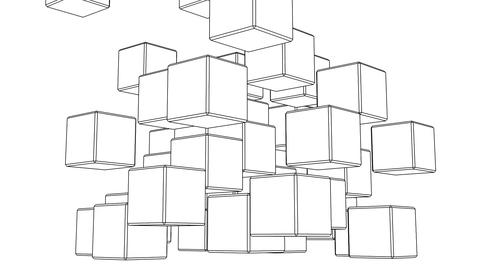 Loop Able Black Wire Frame Cube Abstract On White Background Stock Video Footage