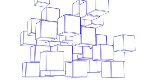 Loop Able Blue Wire Frame Cube Abstract On White Background Animation