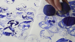 Making homemade stamps from potatoes Image
