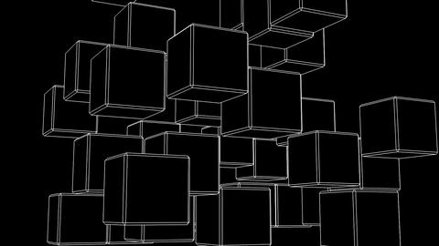 White Wire Frame Cube Abstract On Black Background CG動画