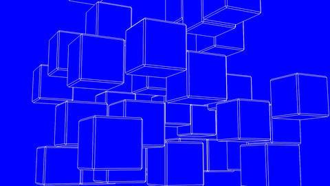 White Wire Frame Cube Abstract On Blue Background CG動画